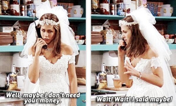 friends-rachel-wedding-dress-needs-money. @hookedonfriends